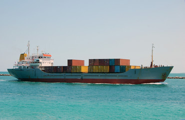 Miami Bound Caribbean Container Ship