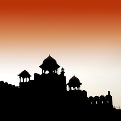 silhouette of red fort in delhi india