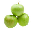 Close-up fresh apples with with water drops isolated on white