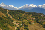 nepal scenary with himalaya view poster