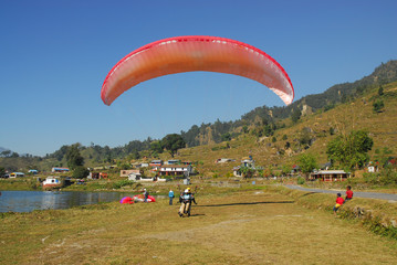 landing with parachute