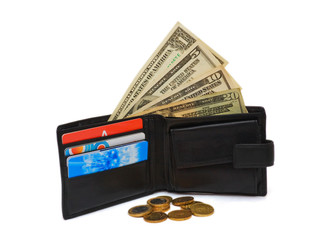 Wallet with dollar bank notes and coins