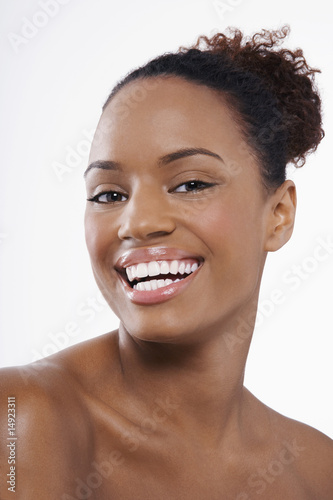 Beautiful young black woman, hair back