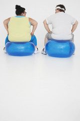 Overweight man and woman Resting on Exercise Balls, back view