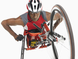 Paraplegic cycler, low angle view