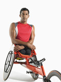 Paraplegic cycler, portrait