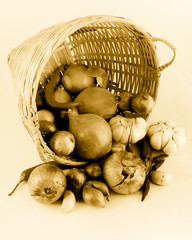 Basket of Onions, Garlic and Chilies