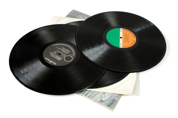 Old vinyls isolated