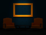 Two orange chairs and wood table with empty frame in minimalist poster