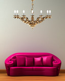 Pink couch with golden chandelier in minimalist interior poster