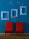 Red chairs with empty frames in blue minimalist interior poster