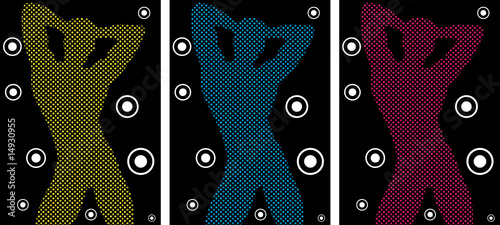 Music Funky Retro Boy Silhouette with Dots