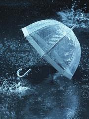Unused umbrella, lying on ground being rained upon