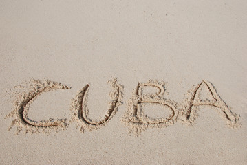Cuba -  letters on the sand