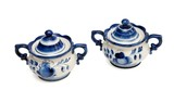 Pair of Russian porcelain blue and white sugar basins