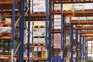 Shelves in warehouse Full of Merchandise