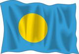 Waving flag of Palau isolated on white poster