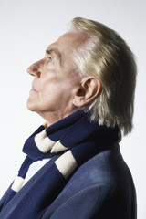 Senior Man Wearing a Scarf, head and shoulders, profile