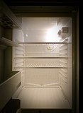 Empty fridge interior, frontal view