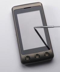 stylus on the pda phone