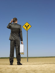 Businessman looking at road sign in desert, back view
