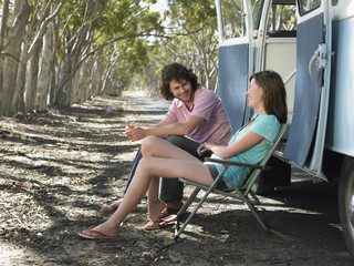 Young Couple Resting on Road Trip