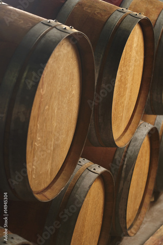 Wine casks lying down in order