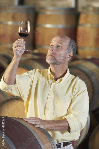 Man wine-tasting aside wine casks