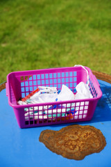 Laundry clips in pink basket