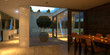 Modern minimalist interior at night (3D render)