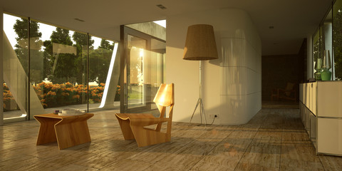 Modern minimalist interior in sunset