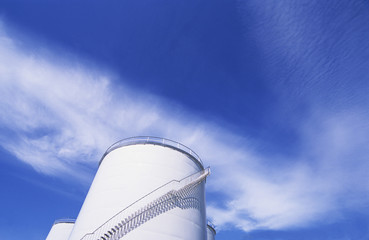 Industrial chimney, low angle view
