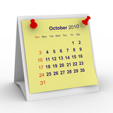 2010 year calendar. October. Isolated 3D image poster