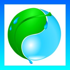 Ecology water drop and green leaf yin yang symbol
