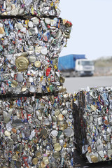 Stacks of recycled products