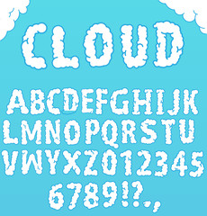 "Font ""Cloud"". Hand written alphabet. Vector."
