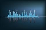 illustrazione moderna di un'onda sonora blu con la riflessione