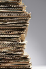 Pile of corrugated cardboard, close-up