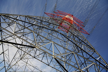 Electricity pylon, low angle view