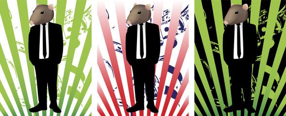 Rat face in suit representing corruption