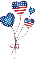 Heart Shaped Balloons with the United States of America