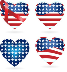 Hearts with Ribbons with the United States of America