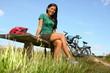 Woman resting from biking