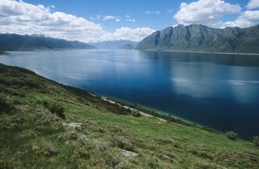 Water reservoir in mountain landscape