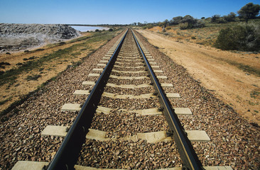 Railroad track in non-urban landscape
