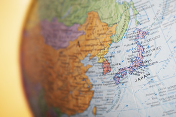 Political globe, close-up of Japan