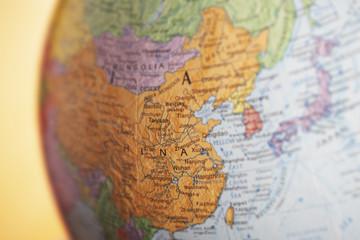 Political globe, close-up of China