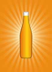 Vector Beer Bottle On Burst Background