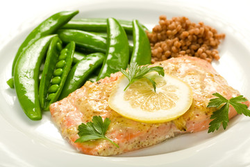 Salmon with Peas and Israeli Couscous