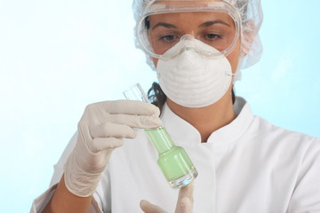 doctor examine green liquid